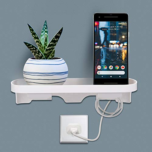 Cover Bedroom Outlet (Wall Outlet Shelf Organizer Storage Self Stick On Installation No Drilling No Tools Suitable All US Wall Plate Sizes -Ideal for Cellphones/Razors/Electric Toothbrush,Etc-Hold Up to 8 lbs-White)