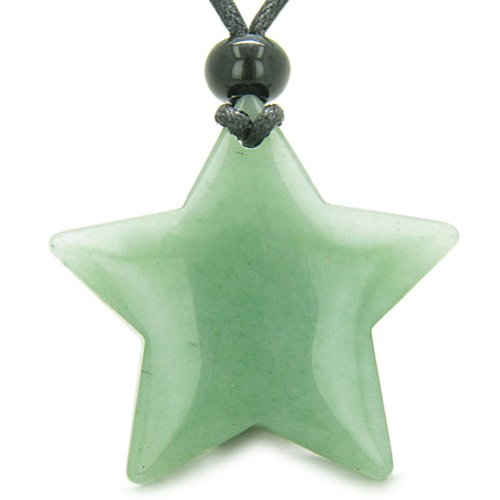- BestAmulets Amulet Magic Five Pointed Super Star Crystal Green Quartz Pendant Necklace