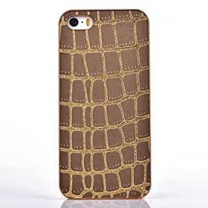 NEW Snakeskin Leather Gold Chrome Hard Case for iPhone 5/5S (Assorted Colors) , Black
