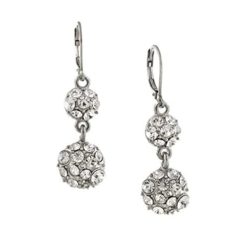 1928 Jewelry Silver-Tone Crystal Fireball Double Drop Earrings ()