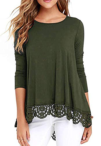 Trim Tunic Crochet (Womens Long Sleeve T Shirt Casual Cute Crochet Lace Blouse Tunic Tops Army S)