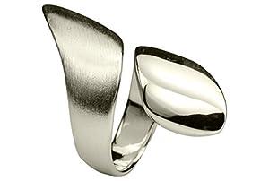SILBERMOOS Ring Damenring Welle Spirale Schaufel Spiralring Bandring offen...