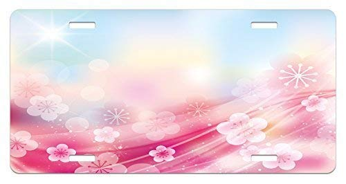 Blossoms Charming (Fabri.YWL Modern License Plate, Charming Blossoms Flowers Buds Rays Waves Rainbow Ombre Art Print, High Gloss Aluminum Novelty Plate, 6 X 12 Inches, Pink Fuchsia Blue and White)