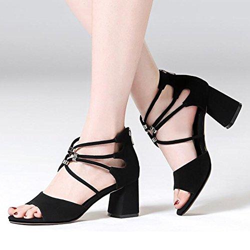 en Haute Sandales Dames T2 Taille Bloc Escarpins Femmes Milieu EU40 Talon CJC Dehors Chunky T3 UK7 Chaussures Couleur Couper XvwHgq5n5