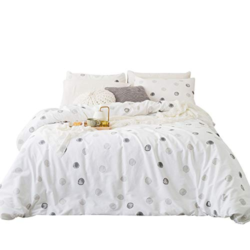 - YuHeGuoJi 3 Pieces Duvet Cover Set 100% Cotton White King Size Geometric Pattern Bedding Set 1 Polka Dot Duvet Cover with Zipper Ties 2 Pillowcases Luxury Quality Soft Easy Care Lightweight Durable