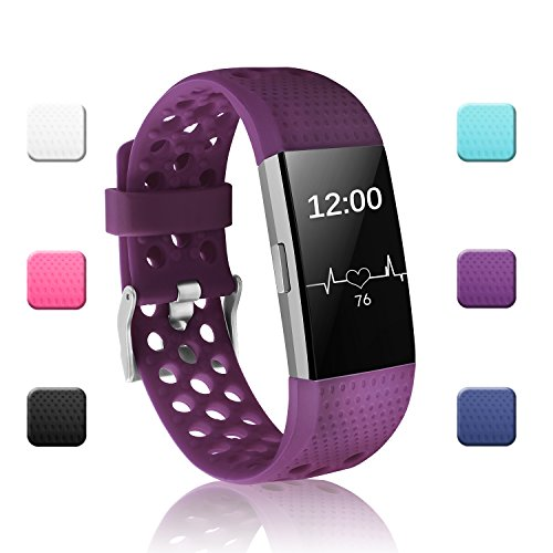 Eggplant Original Scrub - POY Replacement Bands Compatible for Fitbit Charge 2, Adjustable Breathable Wristbands with Air Holes Straps, Large Plum 1PC