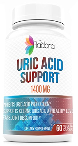 Uric Acid Support 1400 mg – with Black Cherry, Celery Seed, Bromelain, Vitamin C and Turmeric Root - Supports Normal Kidney Function – 60 Vegetarian Capsules by Fladora