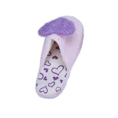 Vovotrade® Lovers Home Floor Weiche Hausschuhe Baumwoll-Gepolsterte Hausschuhe Schuhe Lila