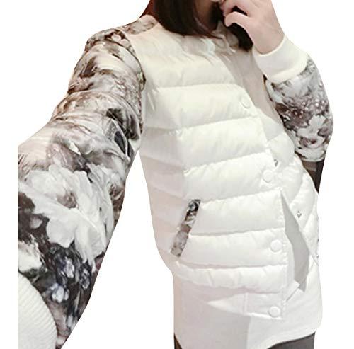 Varsity Size Sleeve Mogogo Contrast Large Women's Padded White Jacket PHwqFA4