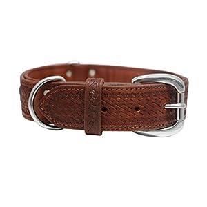 """Genuine leather dog collar. 22""""x1.5"""", Western tooled brown/blue turquoise rawhide weaving Argentinean cowhide. Angel Elite (SIERRA) Necks: 16.5""""-20"""""""