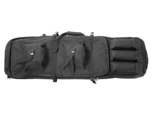Begadi Langwaffentasche / Futteral mit Doppelfach & Aussentaschen, 100 x 30cm - schwarz