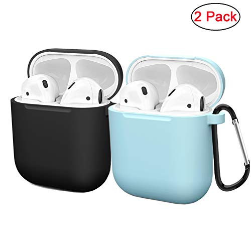 (Compatible AirPods Case Cover Silicone Protective Skin for Apple Airpod Case 2&1 (2 Pack) Black/Blue)