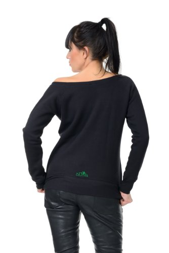 Scollatura Con Rosso Maglione Stampa Barca felpa Verde Blu Bianco Grigio Punk Nero sweater Donna Fata Nero 3elfen tw0gEqHw