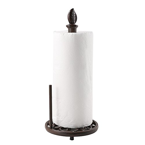 Vintage Metal Paper Towel Holder Brown Cast Iron Roll Paper Towel Stand for Kitchen Bathroom Home Decor ()