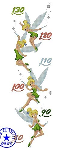 Zamtac Top Quality Beautiful Lovely Counted Cross Stitch Kit Height Chart Measure Fairy Angel My Rain - (Cross Stitch Fabric CT Number: 14CT unprint Canvas) ()