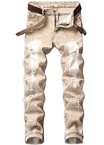 FREDD MARSHALL Men's Ripped Distressed Khaki Straight Fit Mid Waist Washed Stretch Denim Jeans ()