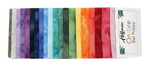 Bali Batiks Ombre Bali Poppy 20 2.5-inch Strips Jelly Roll Hoffman Fabrics BPP-681-OMBRE