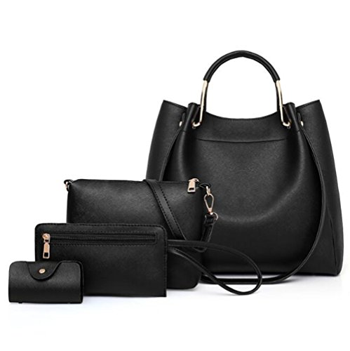 Bag Large Bucket Package Bag Bag Capacity Wallet Black Solid Mother Card Black Color Leather Crossbody Bag Pu qnnEB0