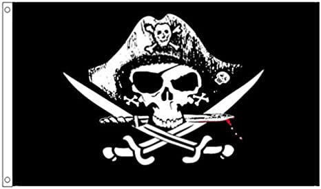 5/' x 3/' Pirate Captains Flag Skull and Crossbones Pirates Jolly Roger Banner