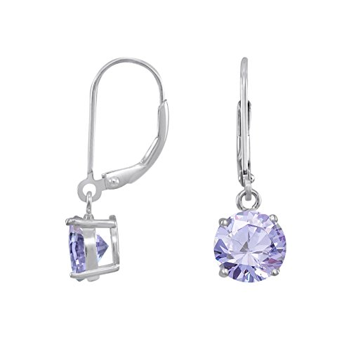 Rhodium Plated Sterling Silver Basket Setting 8mm Round Lavender CZ Leverback Dangle Earrings