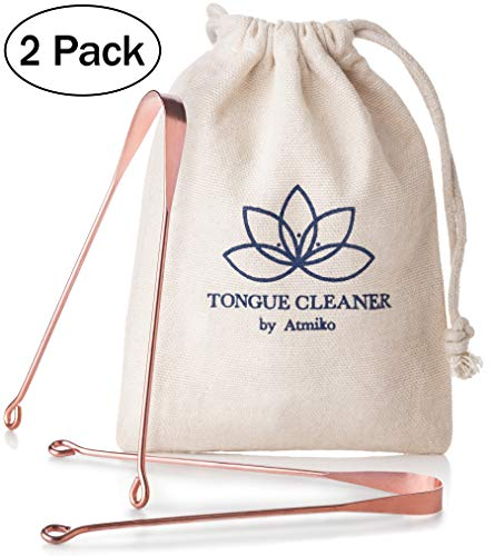 Copper Tongue Cleaner - Tongue Scraper, Ayurvedic Tongue Cleaner (Pack of 2) Made of Pure Copper for Daily Oral Dental Hygiene Fresh Breath and Health Cotton Pouch
