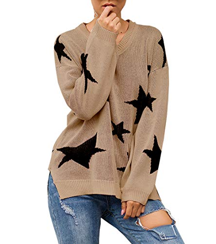 PRETTYGARDEN Women's Winter V Neck Lantern Long Sleeve Star Color-Block Split Knit Sweater Pullover Tops Khaki
