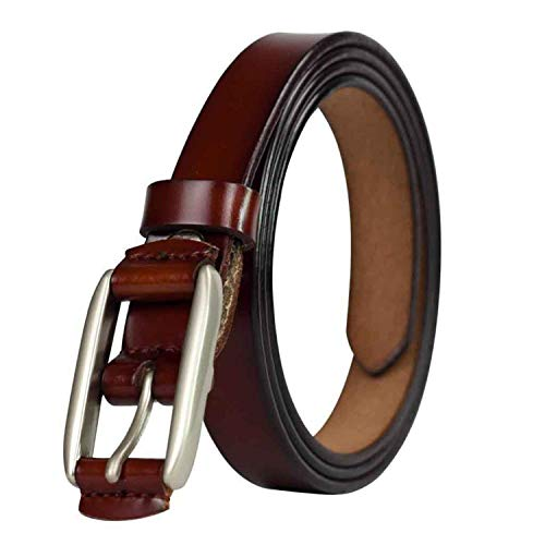 KEBINAI Ladies Red Thin Belt Genuine Leather Strap Female Belts For Women Belts Cummerbunds,110cm,Chocolate