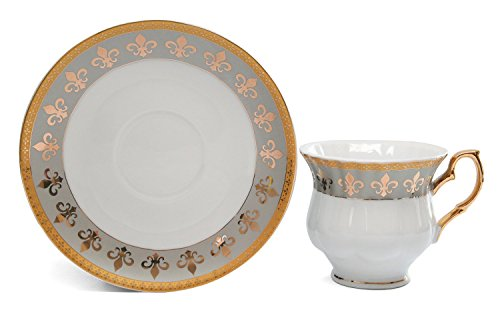 Royalty Porcelain 15pc Fleur-de-Lis Tea Set, Service for 6, 24K Gold-Plated Bone China Tableware by Royalty Porcelain (Image #1)