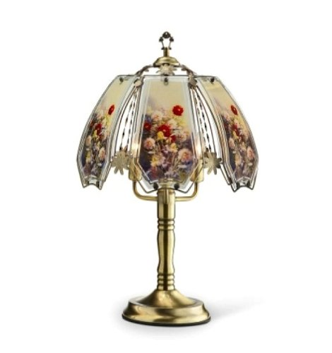 Ore International K-632AB-W12 Stained Glass Touch Lamp, 23.5-Inch, Floral (Petal Design Flower Knob)