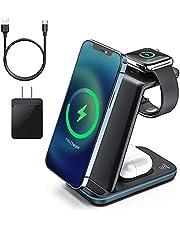 Cargador inalámbrico 3 en 1 soporte para iPhone 12 y iWatch Series 6/5/4/3/2 AirPods Pro, cargador QI de 15 W de carga rápida accesorios iPhone 12/11/11 Pro/11 Pro Max/XS/XR/X/8/8 Plus