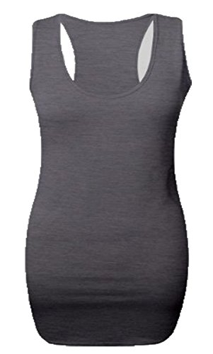 Solid Muscle Carboncino Per Vest Gym Donna Back Bodycon Sleeveless Long Top Sweater Maxi Love Style dUwxSpd0