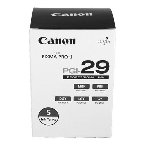 Canon PGI-29 LUCIA Series Monochrome Ink Tanks - Five Monochrome Pack