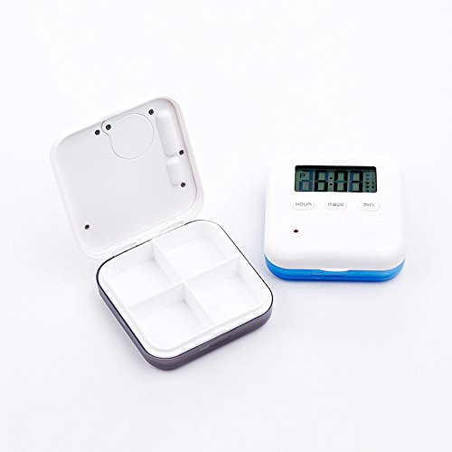 Medicine Organizer,Daily Pill Organizer with Alarm Reminders Portable Medicine Box with 4 Compartment|Medicine Pill Container Case (Gary)