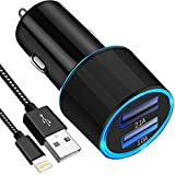 USB Car Charger, Czznn 3.1A Dual USB Port Car Adapter with 6ft Lightning Cable for iPhone X/8/7/6s/Plus 5S 5 5C SE, iPad Pro/Air 2/mini, Galaxy S9/S8/S7/S6/Edge/Plus, Note 5/4, LG, Nexus, HTC,Etc.