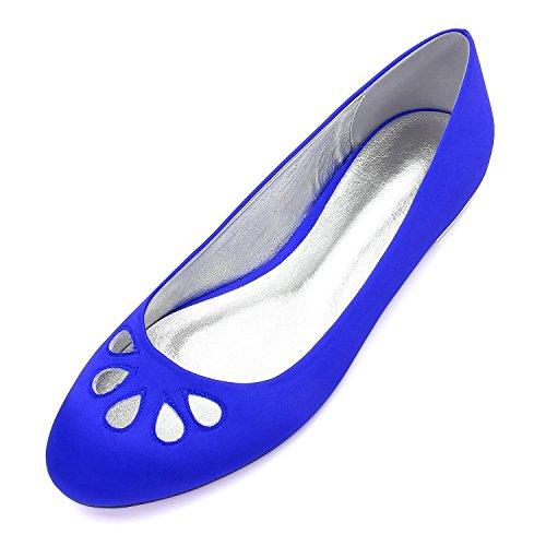 Por Moda Arco high Pisos Blue Fiesta de Satén del Bajo Elegant Boda Las Pie Acentuado de La de 25 Nueva 5049 Boda Dedo shoes Zapatos Mujeres Noche AxFdBR8q