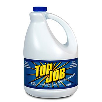 Top Job Regular Bleach, 1 gal Bottle - six one-gallon bottles.