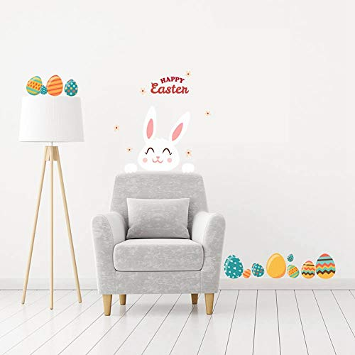 GoGoGoodie Easter Decorations Easter Sticker Easter Wall Decals for Home Office Easter Eggs Flowers Bunny Accessories Party Supplies 2 Sheets