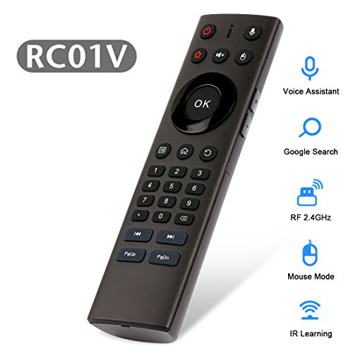 Voice Remote Control, HAOSIHD RC01V 2.4Ghz Wireless Air Mouse Control Remote Infrared Leaning for Android TV Box Windows MAC OS and Linux