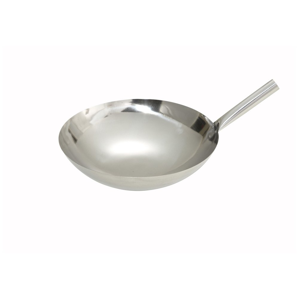 Winco WOK-14N, 14-Inch Stainless Steel Wok Nailed Joint, Chinese Asian Style Wok Stir Fry Pan with Riveted Joint, Frying Pan
