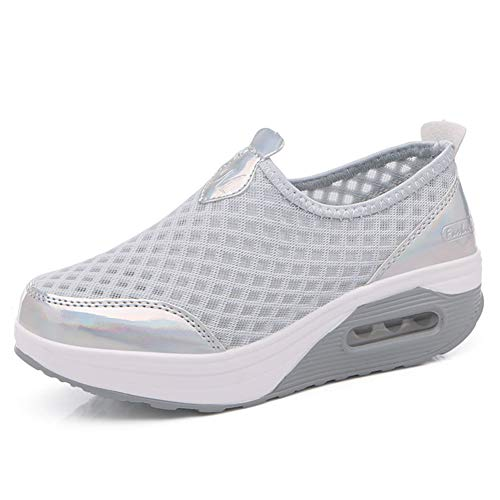 L LOUBIT Women Walking Shoes Slip on Athletic Platform Tennis Breathable Wedge Sneakers 442 Grey 37