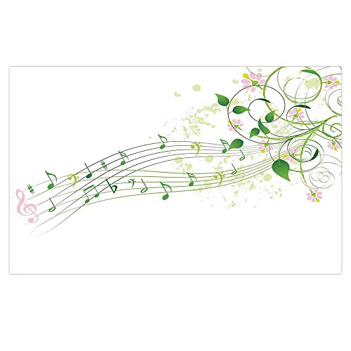 3D Floor/Wall Sticker Removable,Music Decor,Abstract Spring Song Melody Romantic Floral Festival Celebration Flower,for Living Room Bathroom Decoration,35.4x23.6