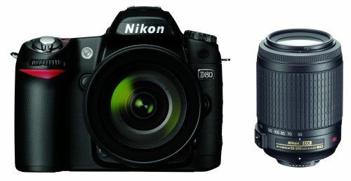 Nikon D80 10.2MP Digital SLR Camera Kit with 18-55mm f/3.5-5.6G AF-S DX VR & 55-200mm f/4-5.6G ED IF AF-S DX VR Nikkor Zoom Lenses For Sale