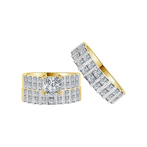 14k Yellow Gold White Rhodium, Trio 3 Piece Engagement Rings Set Princess Created CZ Crystals 1.0ct by GiveMeGold
