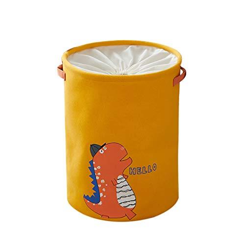 MiMiey Verdickte Faltbare Runde Lagerung Wäschekörbe, Baumwolle Wäschesammler Leinenstoff Wäschekorb Faltbarer Aufbewahrungskorb mit Griffen und Kordelzug-Verschluss (Gelb)