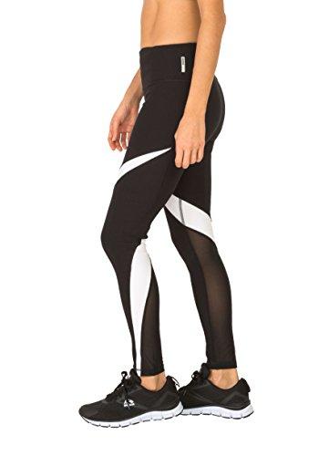 RBX Active Women's Splice Colorblock Leggings with Mesh Black L