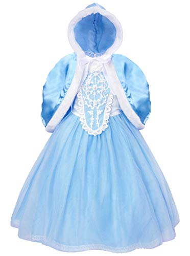 Cotrio Elsa Dress Little Girls Princess Costume Dress Up Halloween Cosplay Party Dresses with Cape Size 10 (140, 9-10Years)