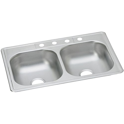 Dayton D233221 Equal Double Bowl Top Mount Stainless Steel Sink by Elkay