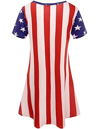 Aphratti Women's Short Sleeve July 4th Summer Gift Print Casual Flare Swing Dress American Flag X-Large by Aphratti (Image #1)