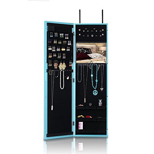 iKayaa Hanging Jewelry Armoire Door/Wall Mount with LED Lights Mirrored Jewelry Storage Box Organizer by IKAYAA