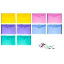 (10Pcs) Waterproof Transparent Snap Button Pocket Folder A4 Size + 28 mm Colored Paper Clips(100-Pieces ) …